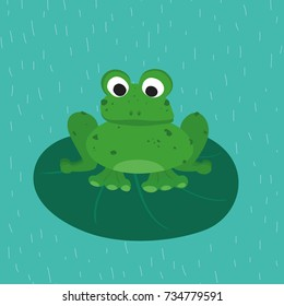 Green frog on the green leaf. Funny animal for children. Cartoon character.