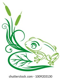 Green frog, reed and leaves. Filigree design.