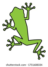 green frog silhouette, vector illustration