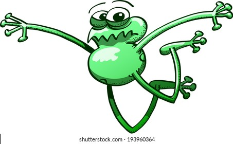 Green frog staring at you, bending its legs, stretching its arms and showing scared while executing a big jump and trying to make it last as long as possible