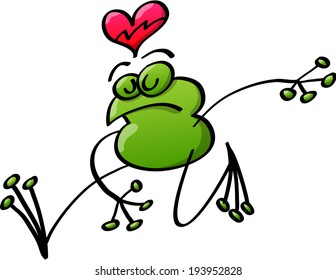 Green frog striding while expressing sorrow of love by closing its eyes and showing a broken heart above its head