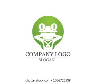 green frog symbols logo and template