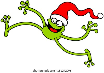 Green frog wearing a Santa hat while smiling and jumping animatedly to celebrate Christmas
