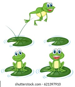 Green frogs jumping on water lily leaves illustration