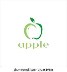 Green Fruit Apple Vector Logo Design