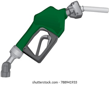 Green fuel nozzle / gus pump isolated on a white background, vector illustration