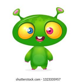 Green funny happy cartoon alien. Green vector alien character. Halloween design