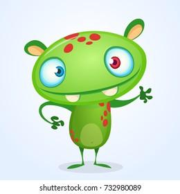 Green funny happy cartoon monster. Green vector alien character. Halloween design