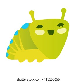 Green funny smiling caterpillar
