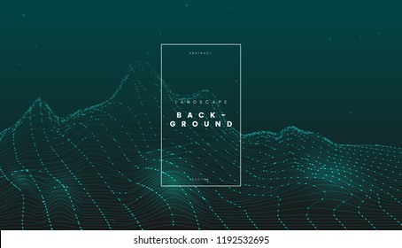 Green futuristic abstract digital wireframe landscape with particles dots, technology background. Can be used for science, network, and tech cyber project. Vector illustration