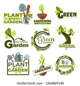 Green garden isolated icons home gardening tools and plants vector spade and forks watering can leaves and branches emblems and logo growing and cultivation groundworks equipment foliage and sprouts.