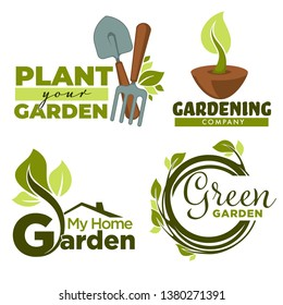 Green garden isolated icons home gardening tools and plants vector groundwork spade and forks leaves and branches emblems and logo growing and cultivation equipment foliage and sprouts in soil