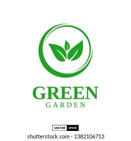 Green garden logo, design inspiration vector template for any purpose logo