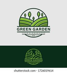 Green garden logo design inspiration, playful Premium Vector