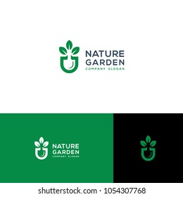 green garden logo template vector illustration
