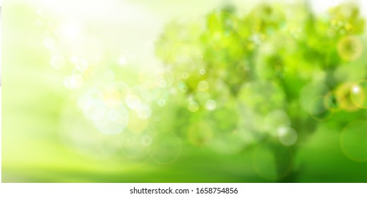 Green garden in strong sunlight. Abstract nature background. Fresh plants. Spring landscape with soft bokeh. Vector illustration.