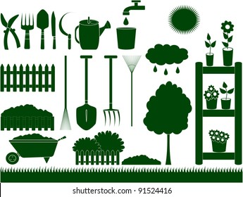 green garden tools for household isolated