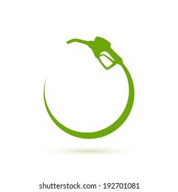 Green gas pump icon. Vector illustration