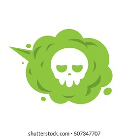 The Green Gas with Skull icon. The deadly gas. isolated Vector illustration.