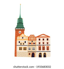 Green Gate or Zelena Brana in Pardubice. Old Czech building with tower and spire. Colored flat vector illustration of famous European landmark isolated on white background