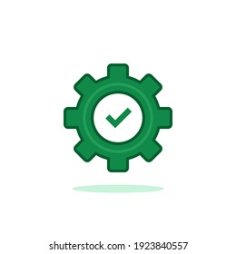 green gear with check mark like execution logo. flat cartoon trend modern simple easy production logotype graphic art design isolated on white. concept of productivity symbol or problem solution