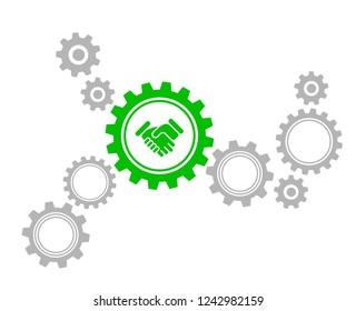 green gear icon - handshake