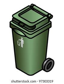 A green general waste bin.