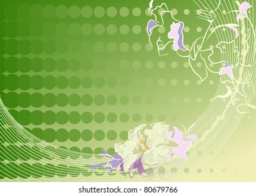 Green gentle background with a flower and abstract lines