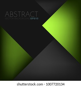 Green geometric background triangle layer overlap with black space for text and background design