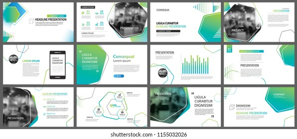 Green geometric slide presentation templates and infographics background. Use for business annual report, flyer, corporate marketing, leaflet, advertising, brochure, modern style.