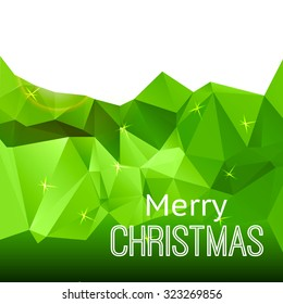 Green geometric triangular background card with text Merry Christmas. Vector illustration