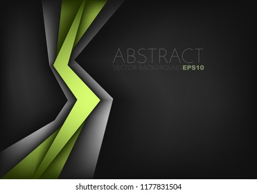 Green geometric vector background overlap layer with silver element on black space for design