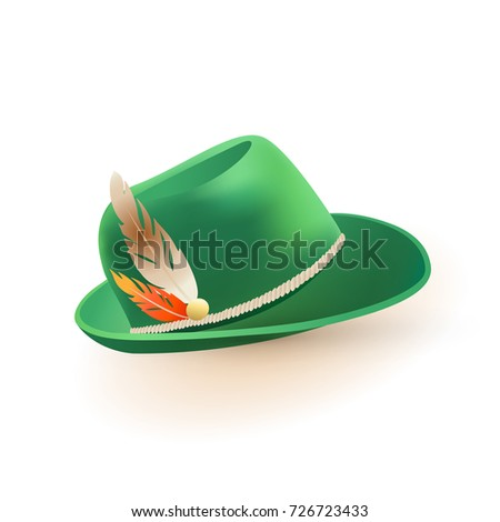 Green germany costume oktoberfest hat with feather icon in cartoon style  isolated on white background vector 30c01ea9244