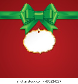 Green gift bows with ribbons On Red Background. Green Bow with card. Vector Illustration.