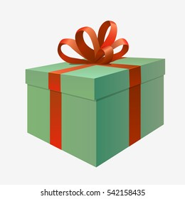 Green gift box present icon. Isolated on white background. Flat vector stock illustration