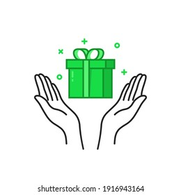 green gift box in two black thin line hand. flat cartoon outline modern logotype graphic simple greeting card design isolated on white. concept of happy new year joy or valentine day romantic present