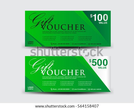 green gift voucher template coupon design stock vector royalty free