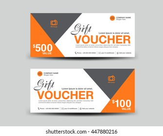Green Gift Voucher template flyer design polygon background, coupon layout, ticket, Discount card, vector illustration
