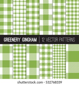 Green Gingham and Buffalo Check Plaid Patterns in White and Greenery - 2017 Color of the Year. Modern Pixel Gingham Vector Patterns of Different Styles. Tile Swatches made with Global Colors.