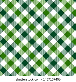 Green Gingham pattern. Texture from rhombus/squares for - plaid, tablecloths, clothes, shirts, dresses, paper, bedding, blankets, quilts and other textile products. Vector illustration EPS 10
