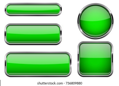 Green glass buttons with chrome frame. Vector 3d illustration isolated on white background
