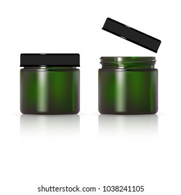 Green glass jar for cosmetic cream. Realistic cosmetic package