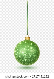 Green glitter christmas ball hanging. Christmas bauble decoration elements. Object isolated a background with transparency effect.