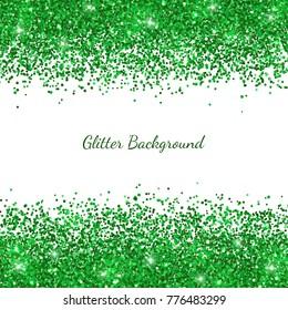 Green glitter on white backround. Vector