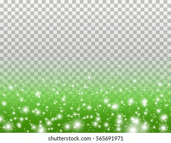 Green glitter particles and white glowing lights effect with confetti for spring or summer greeting card design. Vector Star dust sparks in explosion on transparent grass background.
