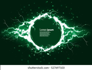 Green glitter party poster abstract layout with circle surrounded by lightnings luxurious pattern. Vector illustration