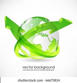 green globe with arrows vector