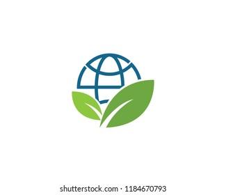 Green globe ilustration logo vector template