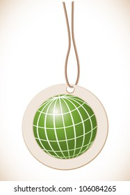 Green globe, Label with cord