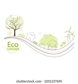 Green globe on the tree. Tree with globe. Creative drawing ecological concepts, With happy family stories, The concept of ecology, to save the planet. Environmentally friendly world. Simple modern.